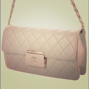 Creme quilted leather Chanel Beauty Lock bag
